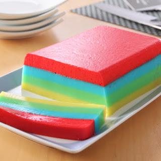 Rainbow JELL-O Dessert Slices