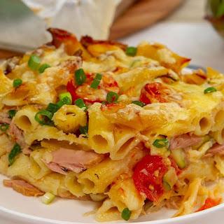 Tuna Pasta Tomato Zucchini Slice.