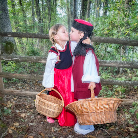 Lets go home by Nick-Nikola Mraovic - Babies & Children Child Portraits ( croatia, plum, basket, forest, children, folk, tradition, girl, boy )
