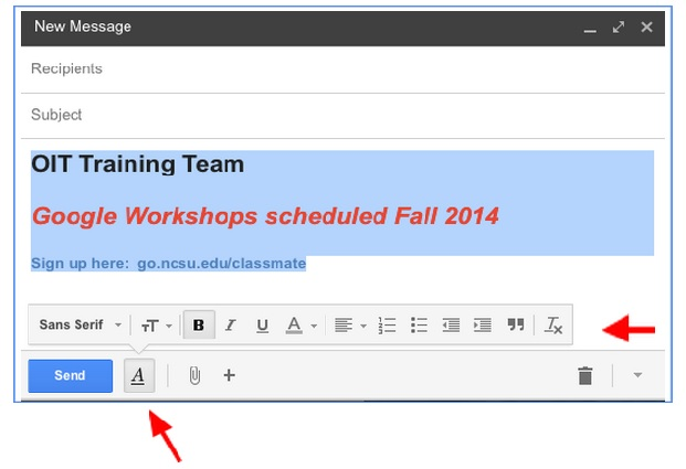 In Gmail compose window, 3 lines with different font size and color are highlighted. One red arrow points to the Formatting Options button. The other red arrow points to the Remove Formatting button.