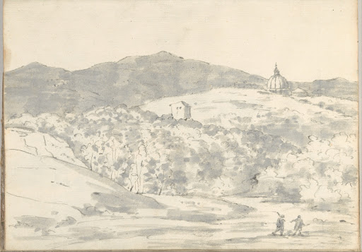 Landscape with a Towered Building and Domed Church (Smaller Italian Sketchbook, leaf 32 recto)