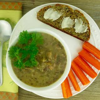 Roasted Garlic Soup, Shallots & Mushrooms.