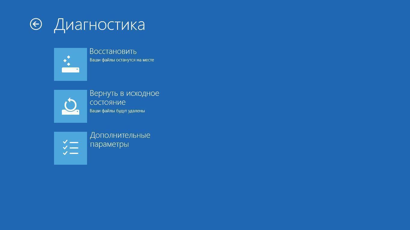 Меню восстановления Windows 8 при загрузке