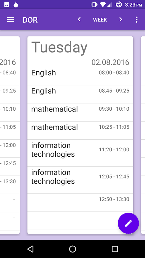 DOR - timetable- screenshot