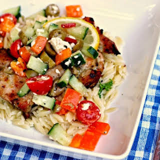 Grilled Greek Chicken Thighs w/Lemon Parmesan Orzo.
