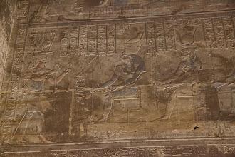Photo: Horus temple, Edfu - inner vestibule, Ptolemy XII offering to Horus and Hathor?