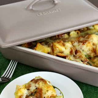Caramelized Onion, Kale, Bacon and Cheddar Strata