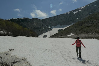 Photo: Hiking up Savin Kuk which still has patches of ice