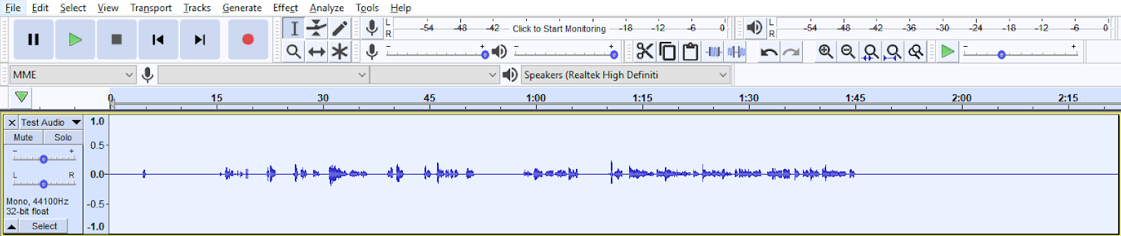 Audio file displayed and highlighted in Audacity