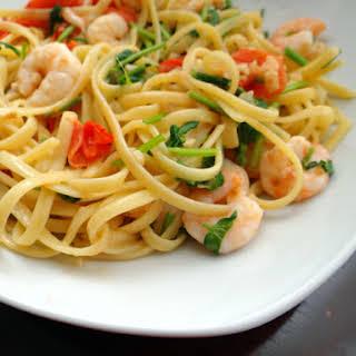 Shrimp Pasta With White Wine Tomato Cream Sauce.