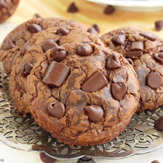 Soft And Chewy Triple Chocolate Fudge Cookies.