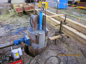 Photo: Lateral test shaft at end of lateral load test.