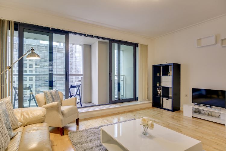 living space at South Quay Serviced Apartments, Canary Wharf