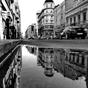 BGH2O by Zoran Nikolic - Black & White Street & Candid ( car, reflection, street, buildings, puddle )