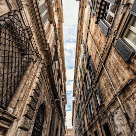narrow street by Antonello Madau - City,  Street & Park  Historic Districts
