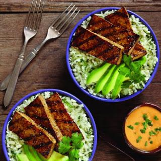 Balsamic Grilled Tofu with Cauliflower Cilantro Rice and Avocado Recipe