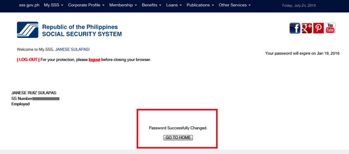 how to retrieve SSS online account step 7