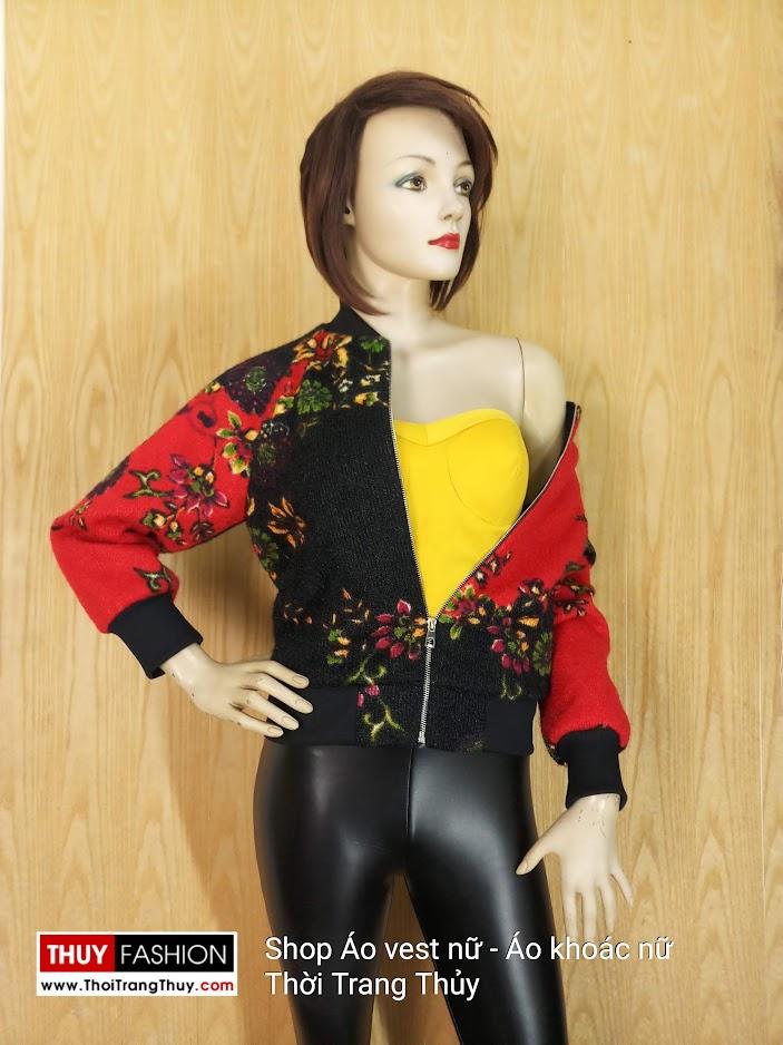 Áo bomber nữ tay giác lăng vải len họa tiết hoa V660