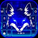Neon Wolf Blue Keyboard Background icon