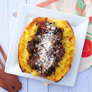 Italian Roasted Spaghetti Squash w/ Sausage & Kale.