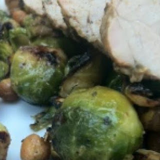 Grilled Brussels Sprouts & Roasted Chickpea Hash