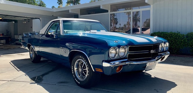 1970 Chevy El Camino SS 396 Blue & White Hire CA