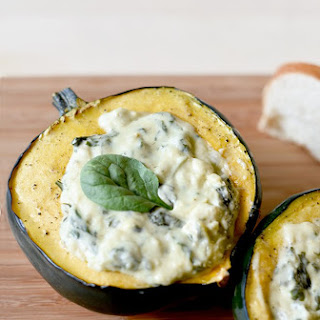 Roasted Acorn Squash with Havarti Spinach Artichoke Dip