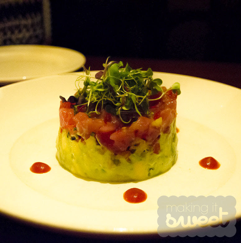 Tuna Tartare with Wasabi Avocado Mousse, Tropical Slaw and microgreens