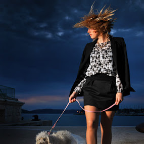 Every day the same way by Andrija Vrcan - People Street & Candids ( walking, girl, dog,  )