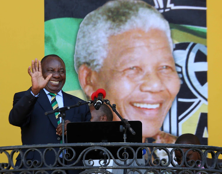 ANC president Cyril Ramaphosa addresses Nelson Mandela celebration. Picture: ESA ALEXANDER