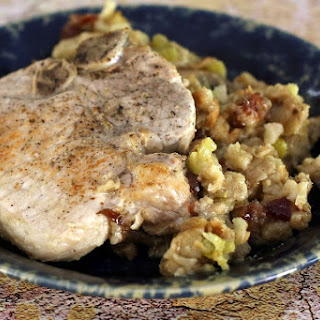 Quick and Easy Pork Chop and Stuffing Casserole.