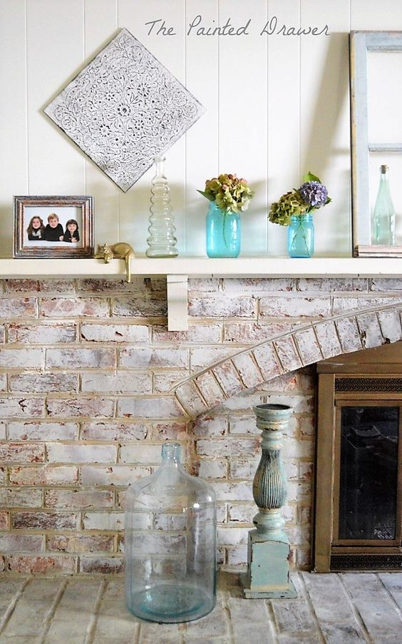 How To Paint A Red Brick Fireplace To Look Like Stone