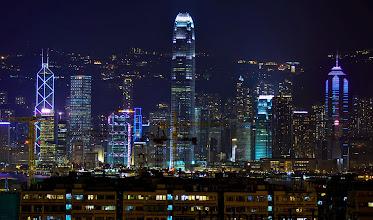 Photo: The Hong Kong skyline at night