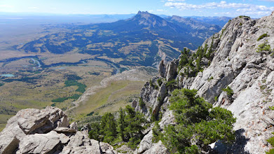 """Photo: View from false summit - You can see Sawtooth Ridge (3 """"teeth"""" near the top of the photo, the cliffs that Mardi, Missy, and I followed below, and the Sun River as it comes out of its canyon."""
