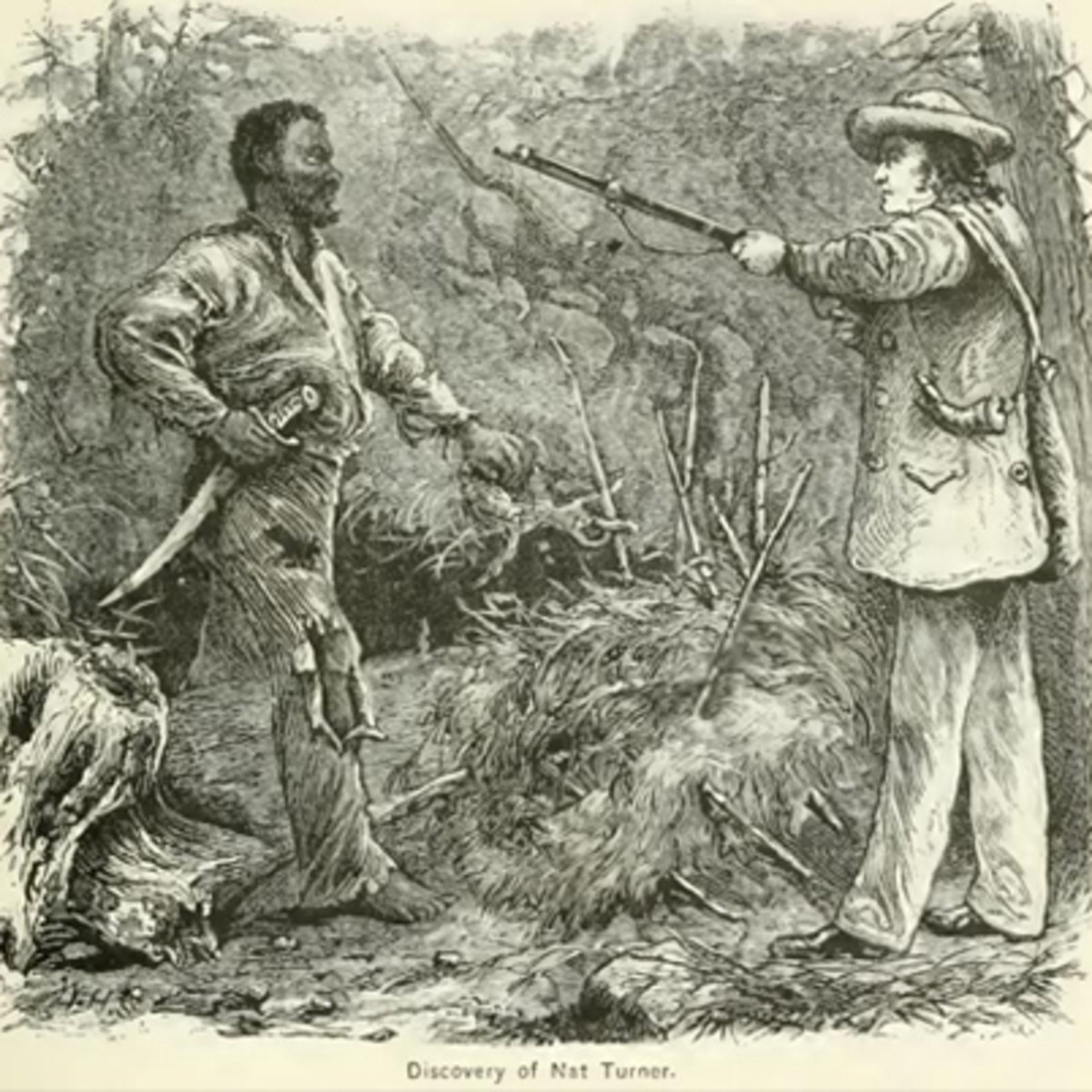 An artist's depiction of the capture of Nat Turner