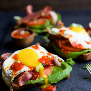 Open Faced BLT Sandwich with Harissa.