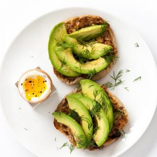 Mustard, Avocado, and Dill on a Whole-Wheat Muffin With Boiled Egg