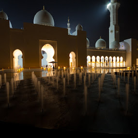Sheikh Zayed Mosque 5 by Bim Bom - Buildings & Architecture Places of Worship ( uae united arab emirates abu dhabi night muslim mosque sheikh fountain water towers light,  )