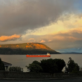 Day's End, Salish Sea by Campbell McCubbin - Instagram & Mobile iPhone ( pano, island, sunset, panoramic, freighter, ship, clouds )