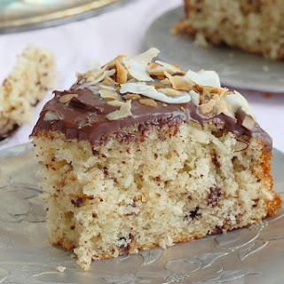 Grated Chocolate Coconut Cake With Chocolate Ganache.