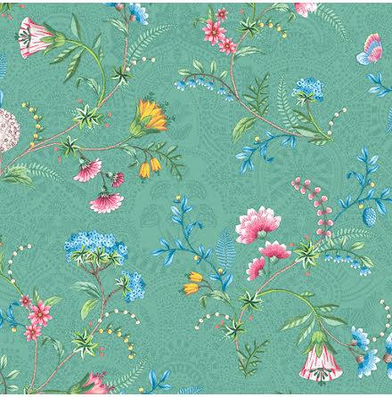 Pip 2020 La Majorelle Tapet med blommor och skimmer - Grön