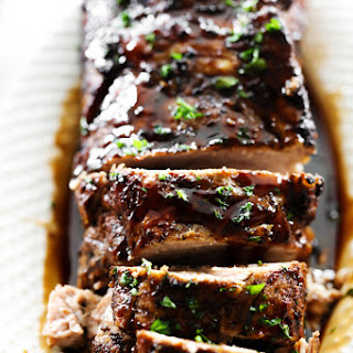 Slow Cooker Balsamic Glazed Pork Tenderloin.