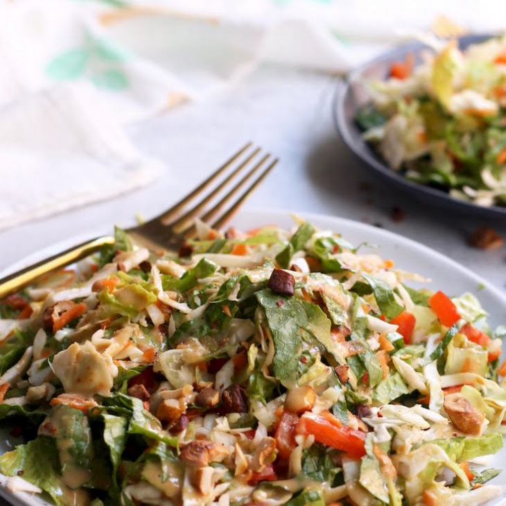 "Crunchy Thai Salad with Creamy ""Peanut"" Dressing Recipe"