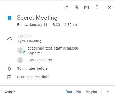 Calendar Event Guest Response