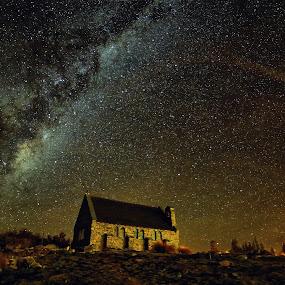 Church Night by Jomy Jose - Landscapes Starscapes ( astro, church, south island, lake tekapo, new zealand, church of good shepherd )