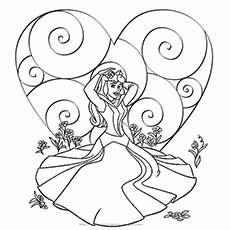 A princess valentine coloring page