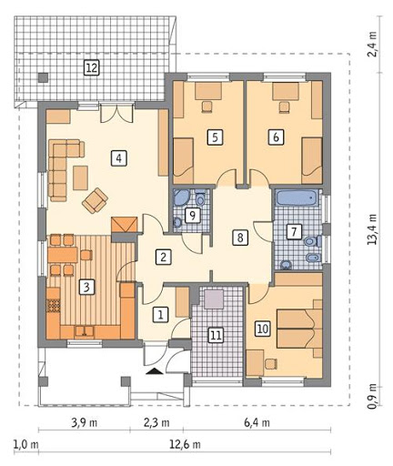 Dom z historią - C258 - Rzut parteru