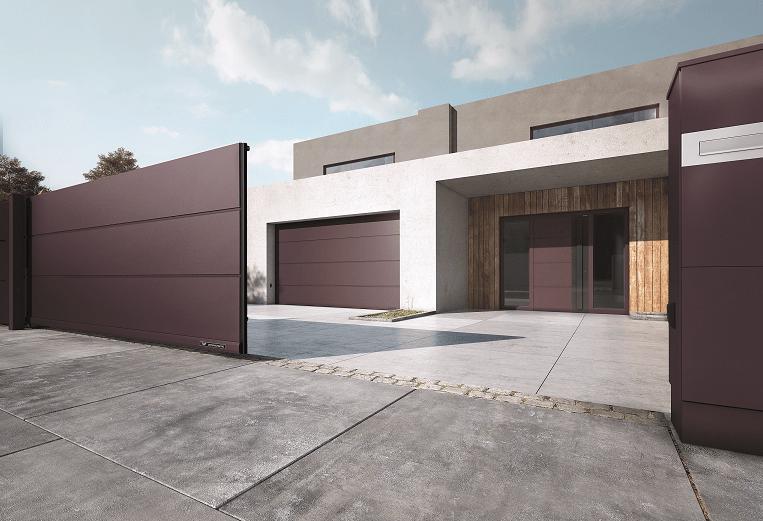 Dom w nowoczesnym stylu - bramy, okna, drzwi i ogrodzenie w jednym designie