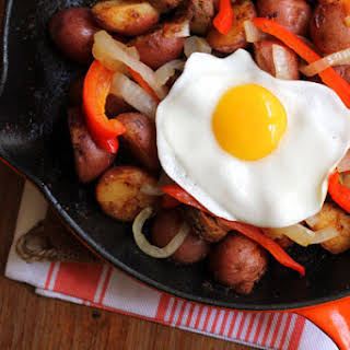 Spanish Eggs with Veggie Chorizo and Peppers.