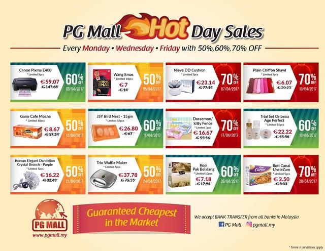 baucer diskaun promos item untuk pelanggan PG Mall Malaysia